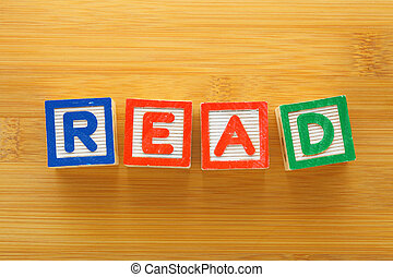alphabet blokkeert, met, de, woord, lezen