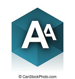alphabet blue cube icon, modern design web element
