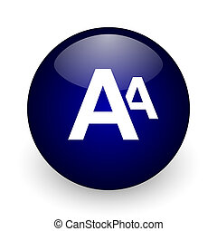 Alphabet blue glossy ball web icon on white background. Round 3d render button.