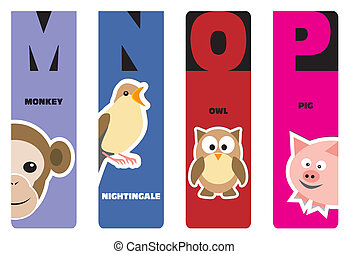 alphabet, bookmarks, -, animal