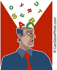 Alphabet Brain - Man with letters of the alphabet coming out...