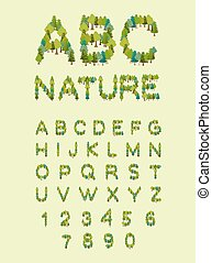 alphabet., brief, natuur, eco, boompje, boom., bos, font., brieven