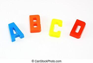 alphabet, c, b, d, coloré