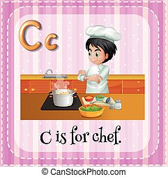 Alphabet C - Flashcard letter C is for chef
