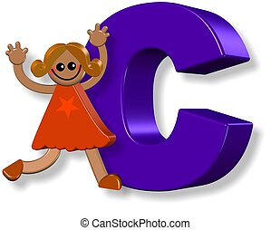 alphabet, c, girl