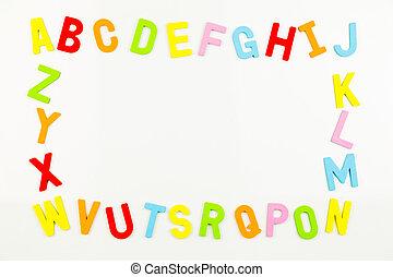 alphabet, cadre, whiteboard, aimants, former