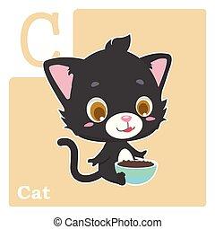 Alphabet card with letter C - Cat