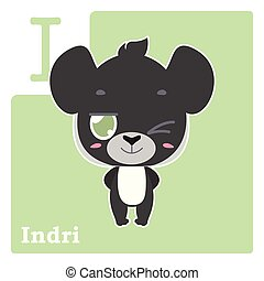 Alphabet card with letter I - Indri