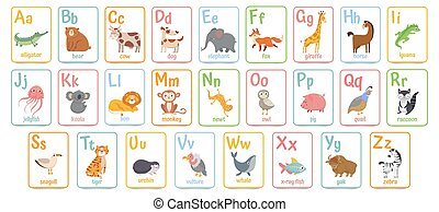 Alphabet cards for kids. Educational preschool learning ABC card with animal and letter cartoon vector illustration set