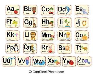 alphabet., carino, words., lettere