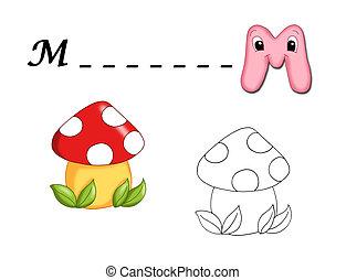 alphabet cartoon, m