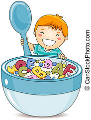 Alphabet Cereals - Boy eating Alphabet Cereals with Clipping...