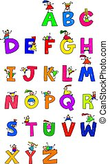 Alphabet Children - Illustration of letters of the alphabet...