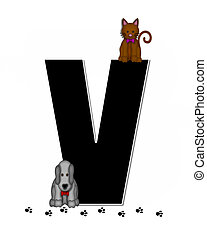 Alphabet Children Pet Paw Prints V - The letter V, in ...