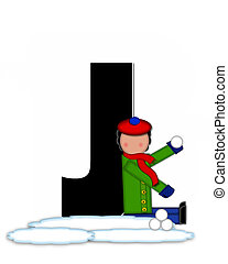 Alphabet Children Snow Fight J - The letter J, in the...