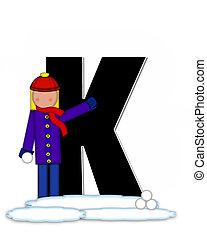 Alphabet Children Snow Fight K - The letter K, in the...