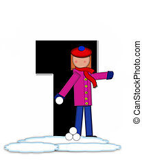 Alphabet Children Snow Fight T - The letter T, in the...