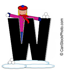 Alphabet Children Snow Fight W - The letter W, in the...
