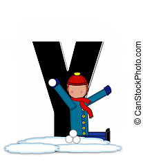 Alphabet Children Snow Fight Y - The letter Y, in the...