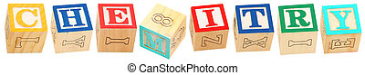 alphabet, chimie, blocs