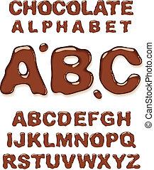 alphabet., chocolade