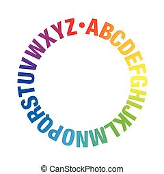 Alphabet Circle Rainbow Colors