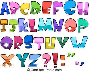 alphabet, clair, dessin animé
