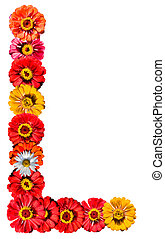 Alphabet collection made from different flowers- L