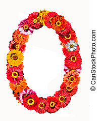 Alphabet collection made from different flowers- O