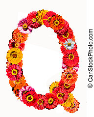 Alphabet collection made from different flowers- Q
