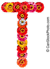 Alphabet collection made from different flowers- T
