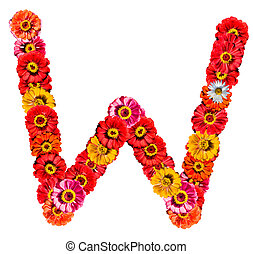 Alphabet collection made from different flowers- W