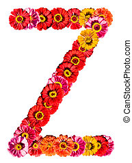 Alphabet collection made from different flowers- Z