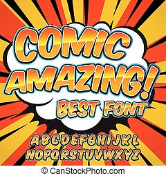 Alphabet collection set. Comic pop art style. Letters, numbers and figures for kids' illustrations, books