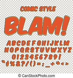 Alphabet collection set. Comic pop art style. Letters, numbers and figures for kids' illustrations, websites, comics.