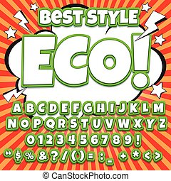 Alphabet collection set. Comic pop art style. Letters, numbers and figures for kids' illustrations, websites, comic