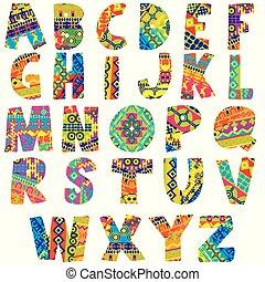 alphabet, coloré, motifs, ethnique