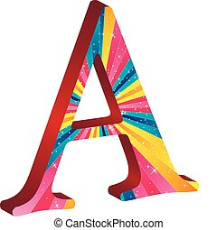 Alphabet Color - Colored alphabet with stripes and stars