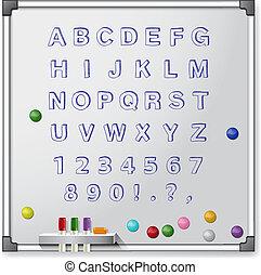 alphabet., colorato, illustrazione, vettore, asse, bianco, handrawn, marcatori