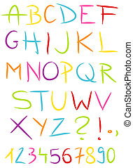 Alphabet - Colorful hand made alphabet. Vector illustration