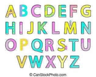 Alphabet Colorful Letters Set Vector Illustration