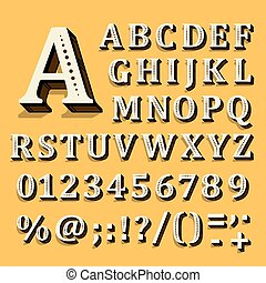 alphabet, contient, jaune, letters., arrière-plan., vecteur...