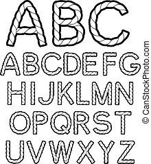 alphabet, corde, vecteur, noir, blanc, police