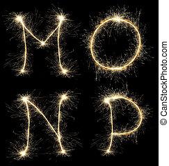 alphabet created a sparkler - Christmas alphabet created a...