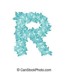 Alphabet Crystal diamond 3D virtual set letter R illustration Gemstone concept design blue color, isolated on white background, vector eps 10