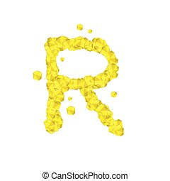 Alphabet Crystal diamond 3D virtual set letter R illustration Gemstone concept design yellow color, isolated on white background, vector eps 10