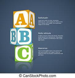 Alphabet cubes - Three alphabet cubes with letters. EPS10...