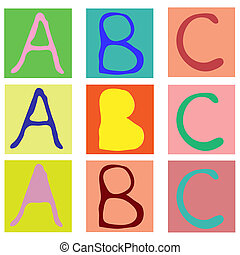 Alphabet cubes with A,B,C letters. Vector illustration.