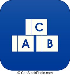 Alphabet cubes with letters A,B,C icon digital blue