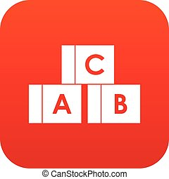 Alphabet cubes with letters A,B,C icon digital red